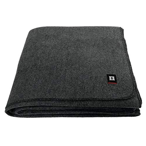 EKTOS 90% Wool Blanket, Grey, Warm & Heavy 4.5 lbs, Large Washable 66'x90' Size, Perfect for Outdoor Camping, Survival & Emergency Preparedness Use