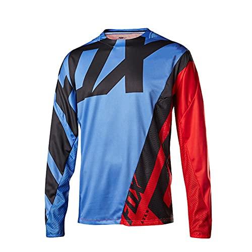 Fox Bike Jersey Mountain Cycling Short MTB Mens Cycling Jersey Shirts Road Bike Jersey Motocross Downhill Vtt MX Summer T-Shirt-L