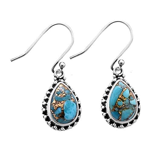 Silver Palace Pendientes de plata de ley 925 con piedra preciosa turquesa de cobre natural para mujeres y niñas