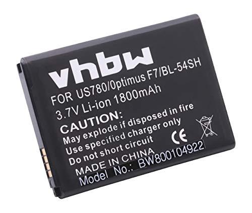 vhbw batería 1800mAh (3.7V) para Smartphone móvil LG Bello 2, Bello 2 Dual, Bello II, D331, D405N, D410, L Bello y BL-54SG, EAC62018209, EAC62018301