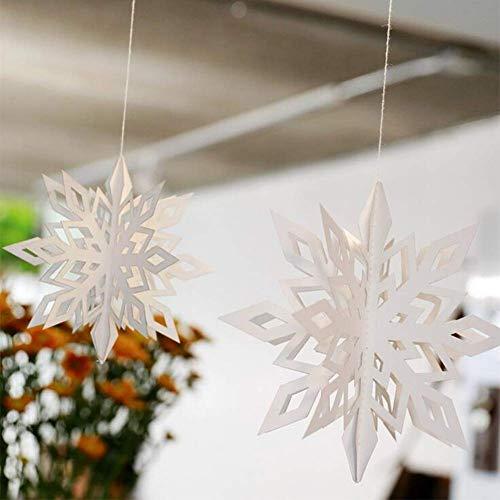 Queta 24 Stück hängende Schneeflocke Weihnachtsdekor Girlande für Zuhause Weihnachten Urlaub Party Geburtstag Dekoration (weiß)
