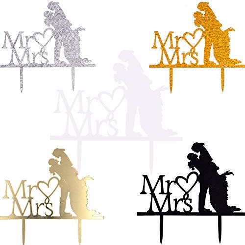 Mr y Mrs Cake Topper - WENTS 5 piezas Acrílico de Novios Mr y Mrs para Fiesta Boda Tartas Decoraciones para Fiesta de Aniversario Fiesta San Valentín