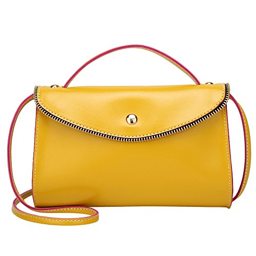 ALIKEEY mode dames lederen hit kleur crossbody tas schoudertas handtas geel