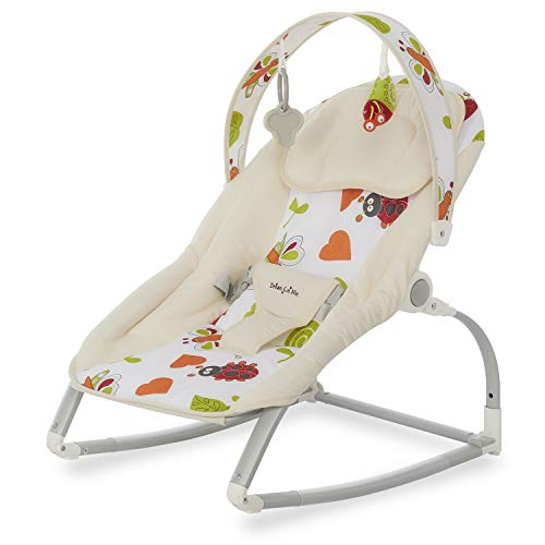 Dream On Me We Rock Rocker, Comforting Rocking Chair with Removable Toy Bar & Hanging Toy in Beige