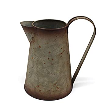 CVHOMEDECO 7 Inch Galvanized Metal Milk Pitcher Old Rustic Primitive Watering Can Jug Vase for Home and Garden Décor.