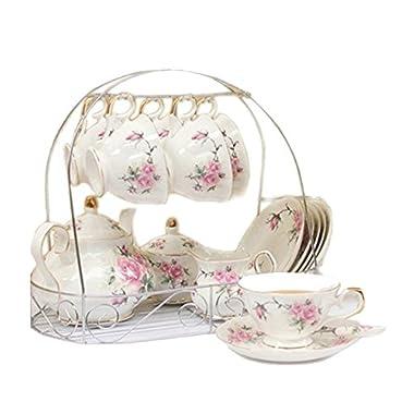 ufengke 15 Piece European Bone China Coffee cup Set, Ceramic Porcelain Tea Cup Set With Metal Holder, Tea Gift Sets, Pink Camellia Painting