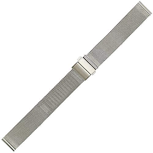 KHLKHBK Correa de Reloj Tejida de Acero Inoxidable 16 mm 18 mm 20 mm 22 mm Correa de Reloj Pulsera de Correa de Reloj Universal (Color: Dorado, Tamaño: 18 mm) Nice Gift