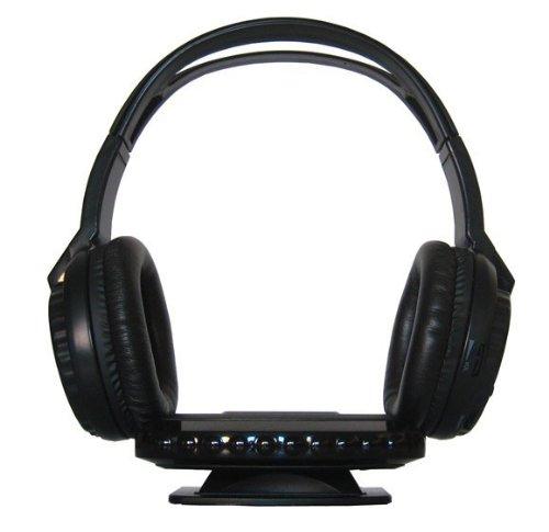 YMPA Kopfhörer IR Infrarot kabellos TV Stereoanlage für daheim zu Hause Stereo Bügelkopfhörer Sender Empfänger Transmitter Aux Cinch RCA 220V schwarz IR KH-3