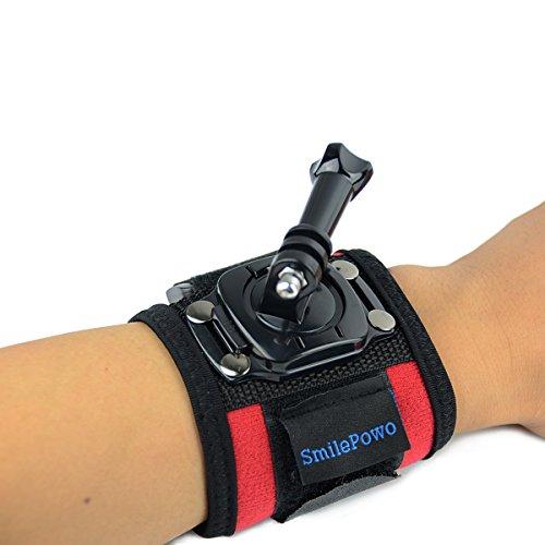 SmilePowo 360 Degree Rotatable Arm Wrist Strap Mount Accessory Kit for GoPro 8 Max 7 6 5 4 3 Hero Black/Hero 2018/Hero Session/Fusion, AKASO Insta360 SJCAM APEMAN Campark YI 4K Action Camera (Red)