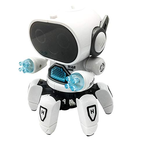 Intelligent Electric Six-jaw Space Dancing Walking Musical Baby&Kids Robot Toy High-tech Kid Companion Robot With Light Projection Flashing&Singing& Moving Around Function For Boys And Girls (White)