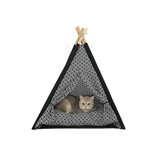 Tragbares Leinen-Tipi-Zelt, zusammenklappbar, für Katzen und Hunde, Welpen, für kleine Tiere, Spielhütten, abnehmbares und waschbares Kissen