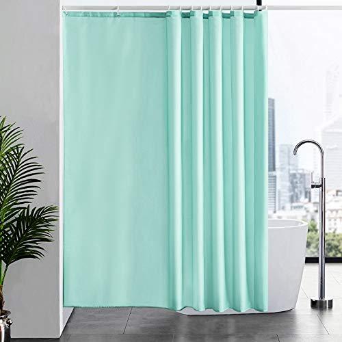 Furlinic Duschvorhang Anti-schimmel Wasserdicht Waschbar für Dusche Badewanne Textil Badvorhang aus Polyester Stoff Grün 200x200 mit 12 Duschringen.