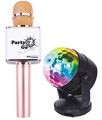 Party2Go - Juego de micrófono y bola de discoteca con Bluetooth