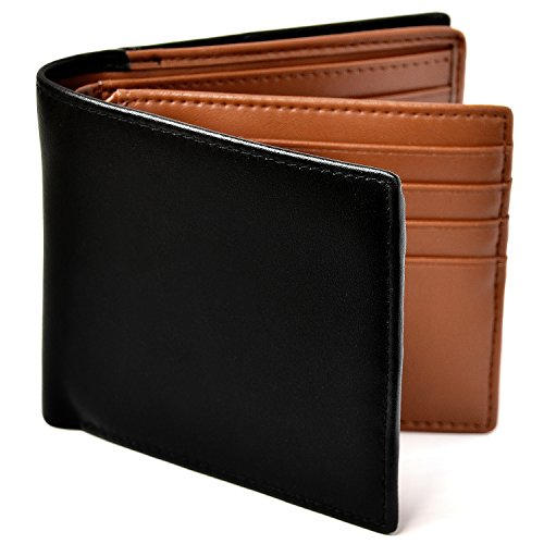 Le sourire Genuine Leather Bi-Fold Wallet, Large Capacity, Holds 18Cards, New Designed Box-Shaped Coin Purse, Men's Wallet - brown -