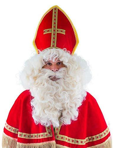Exklusive Weihnachtsmann Perücke und Bart | Zubehör Nikolaus Bischof Kostüm