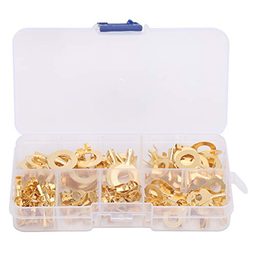 Terminal de orejeta de anillo de latón, 150 piezas Terminal de orejeta de anillo Conectores de cable de alambre de crimpado en frío sin aislamiento de latón
