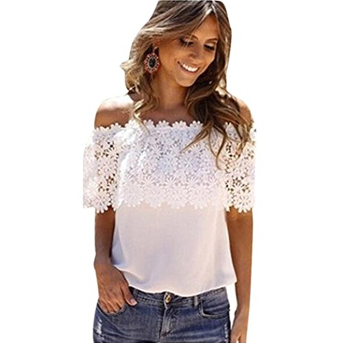 TWIFER Damen Sommer Herbst Off Shoulder Tops Bluse Lace Crochet Chiffon Shirt (S, Weiß)