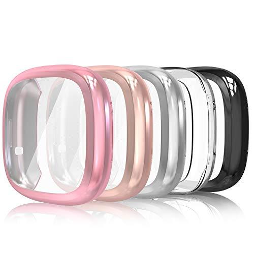Simpeak 5-Stück Schutzhülle Kompatibel für Fitbit Versa 3 / Sense [Nicht für Versa/Versa 2], Hülle Leicht Weiche Silikon Superdünne TPU Hülle, Transparent+Rose+Schwarz+Silber+Roségold