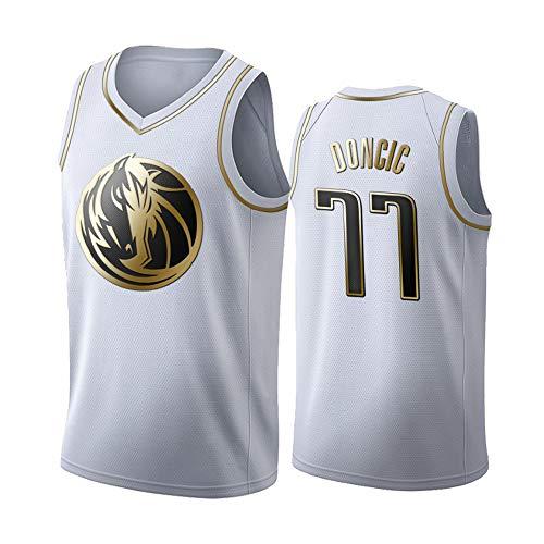 ULIIM Hombre Basketbal Jersey-Luka Donci Dallas Mavericks # 77 Entrenamiento De Baloncesto Secado Rápido Retro Juego Deportes Urban Cool Tejido Transpirable Top Deportivo (S-XXL)