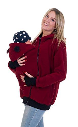 Divita 3in1 Tragejacke Umstandsjacke mit süssen Bärchen Ohren für Tragetuch Babytrage Fleece für Baby und Mama 46 (S/M (36/38), Weinrot/Schwarz)
