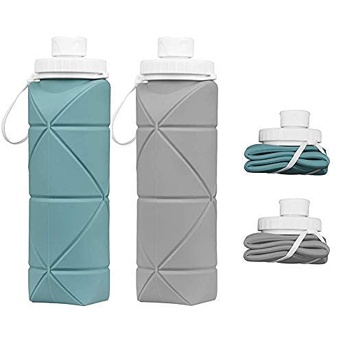 SPECIAL MADE Collapsible Water Bottles 2 Pack BPA Free Siliconce Leak-proof Reusable Travel Water Bottle Lightweight Waterproof Bottle for Sport Working Out Camping Backpacking Hiking (Green+Grey)