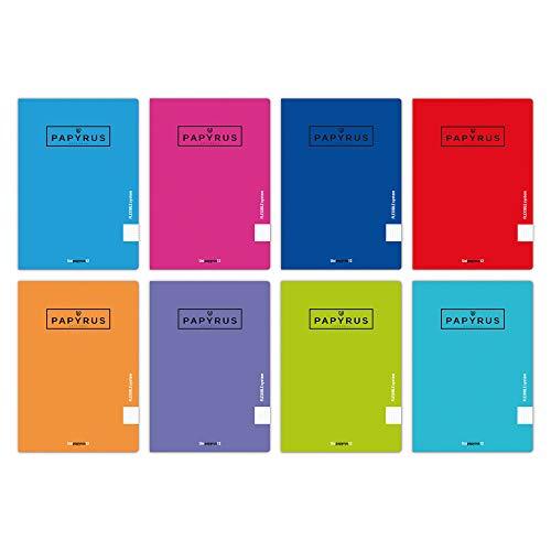 Unipapel 98432099. Pack 10 Libretas A5 +, 48 Hojas Pautadas 3,5mm, Tapa Polipropileno, Papyrus 12, Colores Surtidos Aleatorios