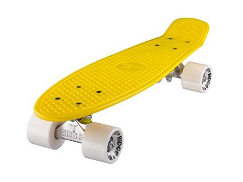 Ridge Skateboards 22 Mini Cruiser Skateboard, Giallo/Bianco
