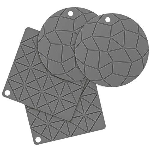 BONTHEE 18cm Silikon Topfuntersetzer Topflappen rutschfest Matte Hitzebeständig Topfhalter Pads für Kochen Backen - 4er Set (Grau)