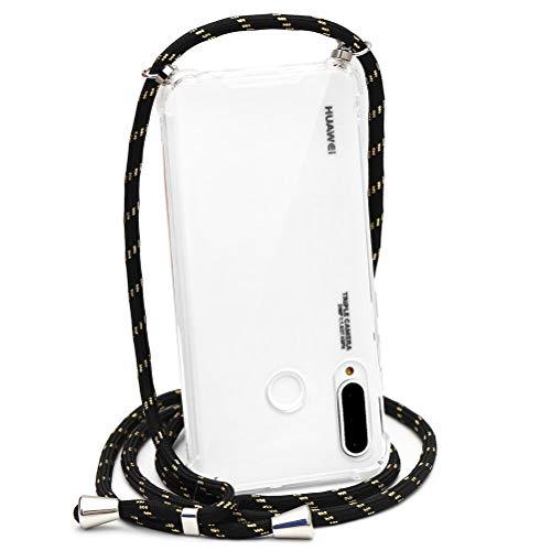 Eouine Capa transversal para Huawei Mate 30, Airbag transparente de silicone com cordão de TPU e alça ajustável para o pescoço - capa fina antiarranhões para Huawei Mate 30, 10