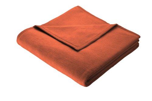 Biederlack Wohn- und Kuscheldecke, 86 % Polyacryl (Dralon), Veloursband-Einfassung, 150 x 200 cm, Terracotta, Thermosoft, 240776