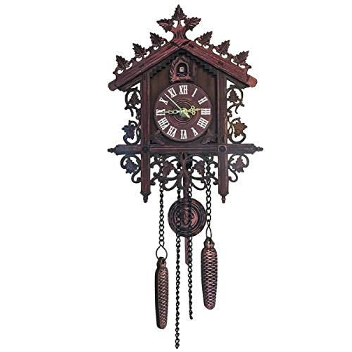 VJRQM Reloj de pared vintage de madera para colgar en la casa del árbol de cuco, reloj decorativo para dormitorio, decoración de pared, relojes de oficina, decoración del hogar, color negro