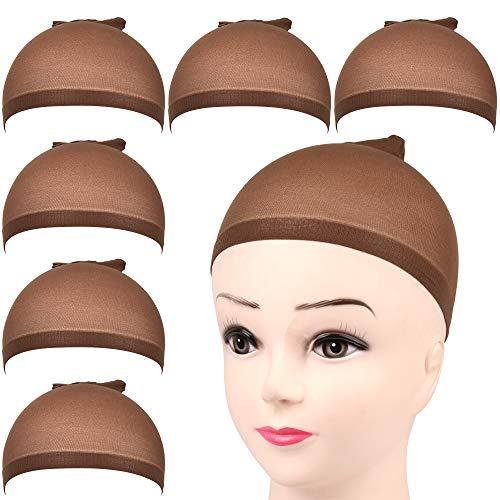 FANDAMEI 6 Stück Perücke Kappen Set Haarnetz Perücke Nylon Wig Caps Perückennetz Unterziehhaube Dehnbare Elastische Atmungsaktive Perückenkappen Dunkel Braun