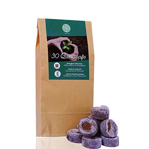 Loveplants Kokos Quelltabletten mit Nährstoffen – 30 Stück, gepresste Kokoserde zur Pflanzen Anzucht ohne zu Pikieren, ca.ø 36 mm aufgequollen, torffreie Quelltabs in Einer plastikfreien Verpackung.