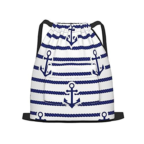 BohoMonos Mochila deportiva con cordón,Conjunto de mar y ancla náutica, Gym Sackpack para Hombres Mujeres Niños Yoga Travel Camping String Bag.