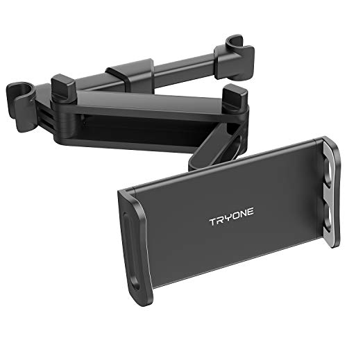 Tryone Soporte Tablet Coche, Soporte Coche Reposacabezas - Soporte Extensible para Tablet Móvil iPad/Samsung Galaxy Tabs/Amazon Kindle Fire HD/Nintendo Switch/Otros Dispositivos de 4.7-10.5 Pulgadas