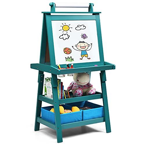 COSTWAY Pizarra de Doble Cara para Niño Caballete de Infantil Tablero de Pie con 2 Cajas de Almacenamiento,Rollo de Papel y Estantes (Azul)