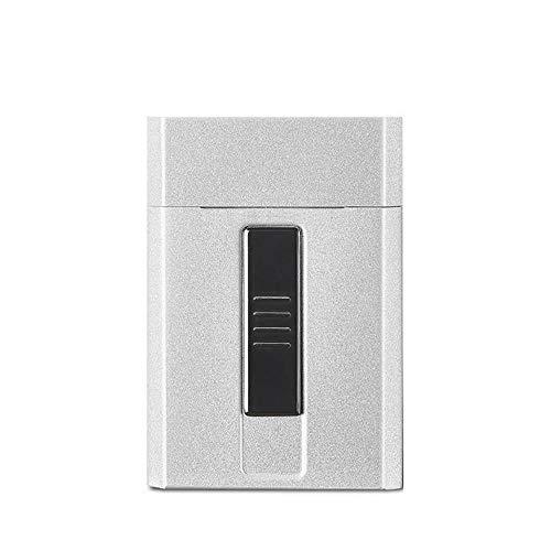 Yuan Ou Porta Sigarette Portasigarette Portatile Accendino Elettrico USB Ricarica Senza Fiamma Antivento Accendino elettronico No Gas per Uomo Argento