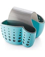 مصفاة مطبخ معلقة بجانبين من الجانبين من حامل تخزين حقيبة إسفنجة منشفة تجفيف رف فرشاة فرشاة الأسنان - أزرق