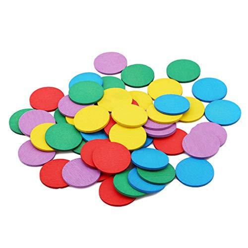 SEVENHOPE Holz Geometrische Form Puzzles Frühe Pädagogische Spielzeug Geometrische Bord Puzzle Baustein Set (Runde Holz Chip)
