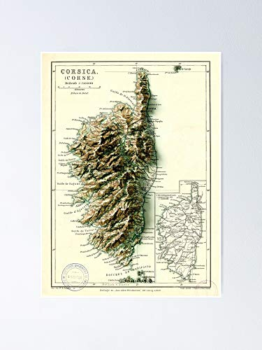 AZSTEEL 1871 Map of Corsica - France 3D Digitally-Rendered Poster
