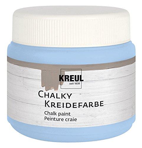 Kreul 75316 - Chalky Kreidefarbe, Vintage Blue in 150 ml Kunststoffdose, sanft - matte Farbe, cremig deckend, schnelltrocknend, für Effekte im Used Look