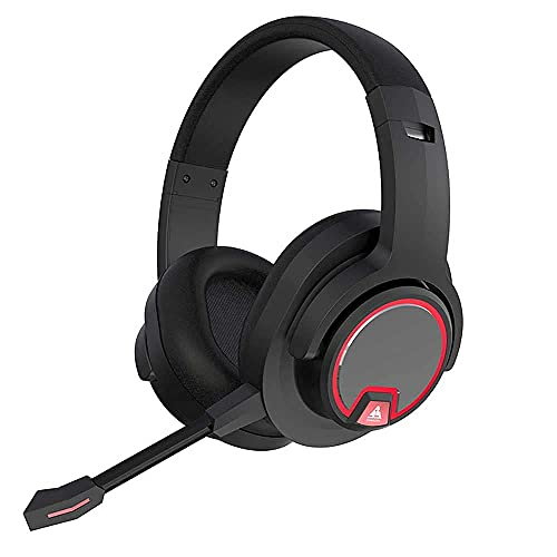 Auriculares de juegos inalámbricos, cancelación de ruido sobre auriculares de juego de oído 7.1 Auriculares estéreo de sonido envolvente con micrófono Bluetooth auriculares...