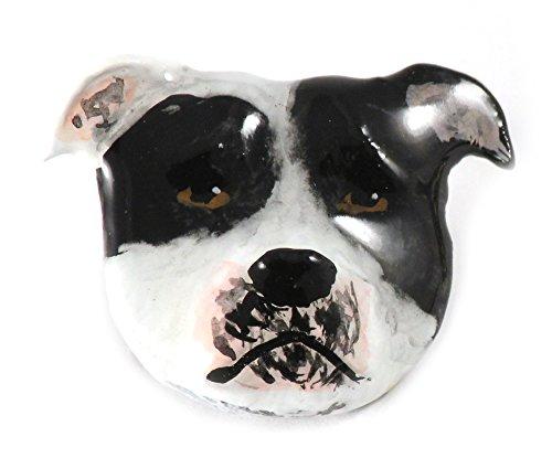 Geschilderd ~ Amerikaanse Bulldog ~ Wit & Zwart ~ Koelkast Magneet ~ DP006AM