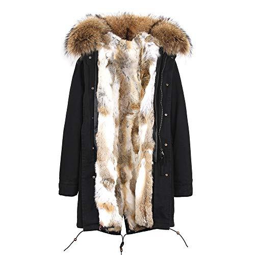 Jsix Cappotto Invernale da Donna Cappuccio con Pelliccia Caldo Cappotto Lungo Giacche Soprabito Parka Outwear (XXL, Color 6)