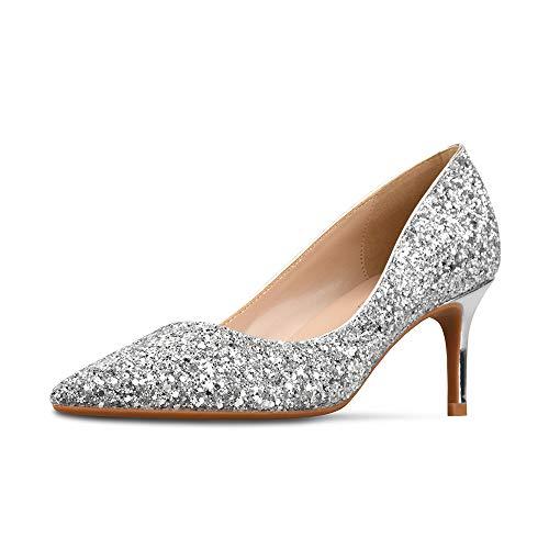 GOXEOU Mujer Zapatos de corte de color degradado brillo dedo del pie...