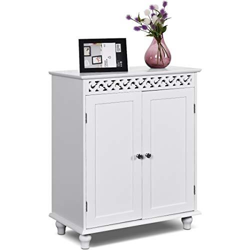 COSTWAY Badezimmerschrank freistehend, Badschrank aus Holz, Badkommode, Küchenschrank, Beistellschrank, Sideboard, Kommode für Badezimmer, Schlafzimmer, Wohnzimmer und Büro, 60x34,5x76,5cm, weiß