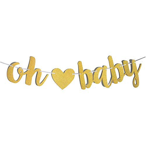 Houstory OH Baby Gold Glitter Bunting Garland Banner for the Birth of a Girl or Boy Baby Shower Wedding Party Photo Props Decoration