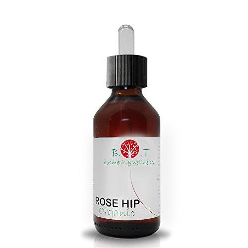 Huile Organique de Rose Musquée 100 ml flacon verre avec pipette Extra Vierge Pressée à Froid, Certifiée Biologique, 100% Pure origine Chili