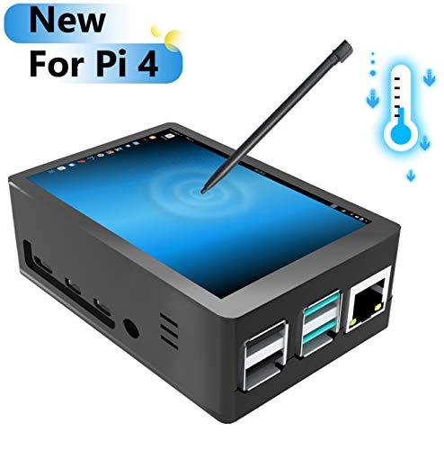 pour Raspberry Pi 4 Écran avec étui, Écran Tactile 3,5 Pouces Écran TFT LCD avec Moniteur 320x480, Mini-Ventilateur avec 3Pcs dissipateur de Chaleur