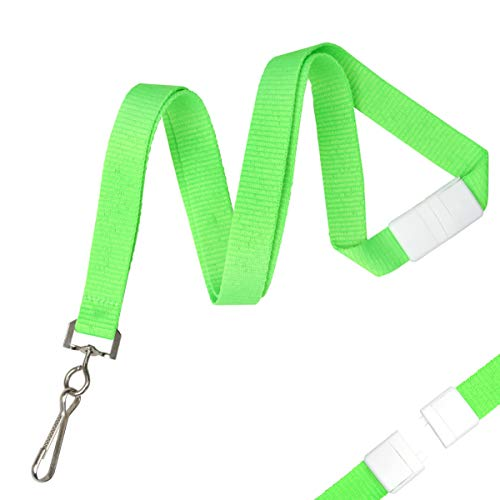 Bulk 100 Pack - Bright Wide Neon Green Lanyards for Name Badges with Safety Breakaway Neck Clasp & ID Badge Holder J Clip - Hi Visibility Neon for Name Tag, Keys, Cruise, Student ID by Specialist ID